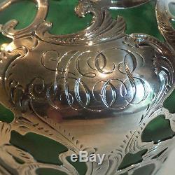 Unusual Antique Art Nouveau Green Glass Scent Bottle. 999 Alvin Silver Overlay