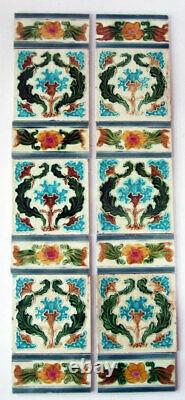 Unusual Antique Set Art Nouveau Fireplace Tiles with Spacers Birmingham 30 x 6