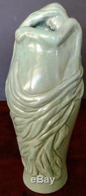 VAN BRIGGLE LORELEI Unique& Gorgeous Rare Sea Green Art Pottery Vase