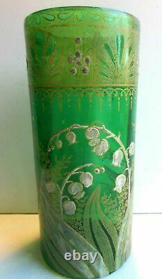 VASE Art Nouveau green enameled glass LEGRAS lily of the valley and golden lace