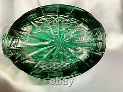 VERY RARE Emerald Green Cut to Clear Etched Intaglio Roses Crystal Decanter