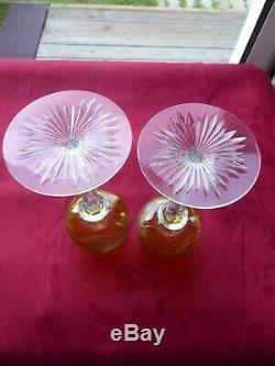 VERY RARE PAIR Art Nouveau period BACCARAT Crystal Rhine Hock Wine glasses Woman
