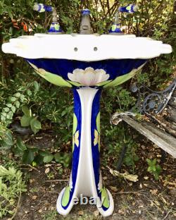 VINTAGE Sherle Wagner Porcelain Water Lilies Pedestal Sink & MATCHING Faucets, +