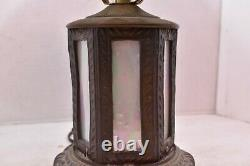 VTG Victorian Art Nouveau Table Lamp Slag Glass Opalescent pearl Iridescent 15