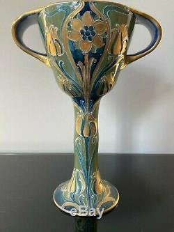 V. Rare William Moorcroft Gilded Florian Art Nouveau Chalice c1903-08