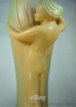 Van Briggle Pottery MINT HUGE Water Nymph With Flower Sculptural Vase 20 inch