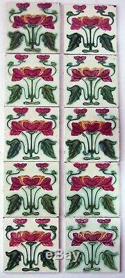 Very Stylish Original Set of 10 Antique Art Nouveau Fireplace Tiles Birmingham