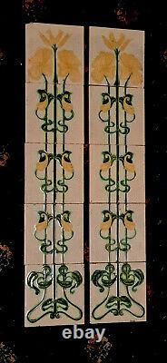 Very Stylish Original Set of 10 Antique Art Nouveau Fireplace Tiles Corn Bros