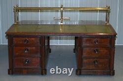 Victorian Double Sided Luxury Honduras Mahogany Brass Green Leather Banking Desk