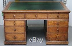 Victorian Oak 18 Drawer Double Sided Twin Pedestal Partner Desk Green Leather