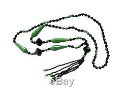 Vintage 1920's Art Deco Flapper Green & Jet Black Glass Beaded Necklace