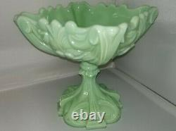 Vintage 1930-1939 Nouveau Green Milk Glass Compote Portieux Vallerysthal France