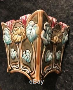 Vintage 19C FRIE ONNAING France Cyclamen Cachepot 674 Art Nouveau Majolica Gift