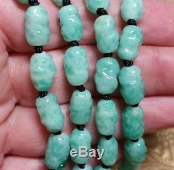 Vintage Antique Czech Sterling Jade Green Mottled Glass Bead Pendant Necklace