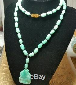 Vintage Antique Czech Sterling Jade Green Mottled Glass Bead Pendant Necklace