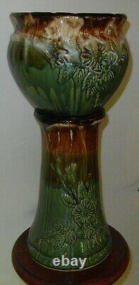 Vintage Antique Roseville Jardeniere with Pedestal / Base Pottery Planter