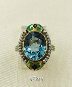 Vintage Art Deco 14k Green Gold Enamel Spinel Pearl Ring