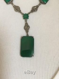 Vintage Art Deco Antique Sterling Silver Chrysoprase or Green Glass Necklace