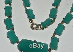 Vintage Art Deco Czech Green Chrysoprase Glass Drop Necklace