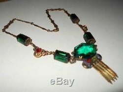 Vintage Art Deco Egyptian Revival Green Glass & Rhinestone Enamel Brass Necklace
