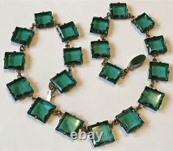 Vintage Art Deco Nouveau Czech Signed Green Open Back Rhinestone Necklace P7