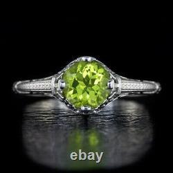 Vintage Art Nouveau Floral Filigree Natural Green Peridot Ladies Cocktail Ring