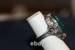 Vintage Art Nouveau Green Chrysprase Cab Sterling Ring with Leaves