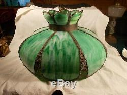 Vintage Art Nouveau Green Slag Curved Glass 8 panel Electric Lamp Shade c1920s