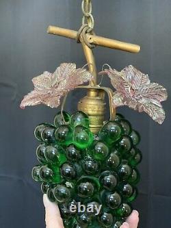 Vintage Art Nouveau Murano Emerald Green Glass Grape Cluster Fruit Chandelier