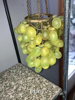 Vintage Art Nouveau Murano  Green Glass Grape Cluster Uranium Chandelier