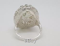 Vintage Art nouveau 14K Gold & Sterling Silver 10TCW Green Amethyst Diamond Ring