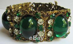Vintage Bling Czech Brass Emerald Green Glass Cabochons & Rhinestone Bracelet