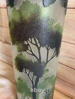 Vintage Cameo Art Glass Art Nouveau Brown Green Forest Acid Etched Cylinder Vase