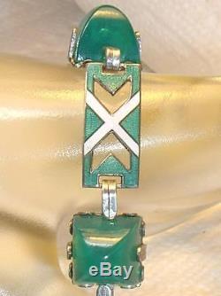 Vintage Deco Sterling Bracelet Green Guilloche Enamel Link Chrysoprase Sugarloaf