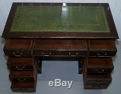 Vintage Flamed Mahogany Twin Pedestal Partner Desk Green Leather Gold Leaf Top