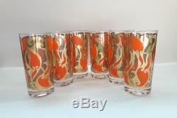 Vintage Georges Briard Set Of 6 Art Nouveau Orange & Green Pattern Glasses
