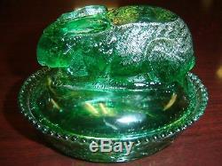 Vintage Greentown Green Glass Rabbit on Nest RARE