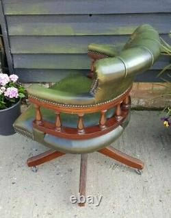 Vintage Mahogany Green Leather Captains Chair