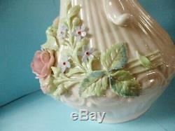 Vintage Pair Of Irish Belleek Applied Colored Floral Lg Pitchers Green Mark