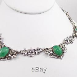 Vintage Sterling Silver Antique Art Nouveau Green Stone Necklace 16 LDE6