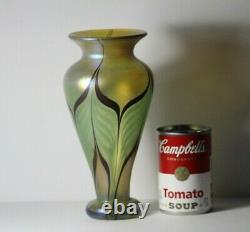 Vintage Vandermark Studios Maroon Pulled Feather Iridescent Aurene Vase 8 3/4