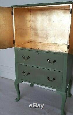 Vintage painted green tallboy, drinks cabinet, linen press, gold leaf interior