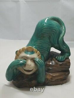Vtg. 3 Set- Majolica green ceramic monkeys, See, Hear, and Speak no evil. Perfect