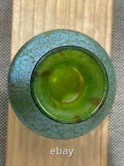 Vtg Antique Loetz Green Art Glass Vase with Blue Green Iridescent Oil Spot Design
