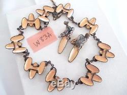 Vtg Matisse Art Nouveau Green Copper Enamel Waltz Necklace Earrings Demi Set