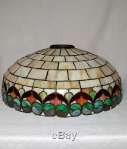 WILKINSON LEADED GLASS LAMP, 18 RIBBON PATTERN w 3 LT ORIGINAL BASE TIFFANY ERA