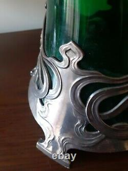 WMF Art Nouveau Claret Jug White Metal & Green Glass Decanter circa 1906-Rare