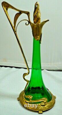 WMF Art Nouveaux Emerald Green/Gilt Bronze Decanter circa 1905 Germany