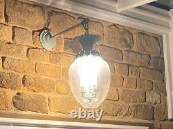 Wall glass lamps antique green decorative tops with large glass shade