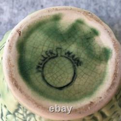 Weller Art Nouveau Pottery Marvo Green Bowl / Vase Ferns Flowers 1920s Antique
